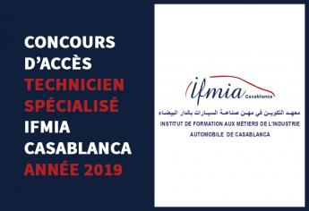 Concours d'accès au niveau Technicien Spécialisé de IFMIA Casablanca 2019